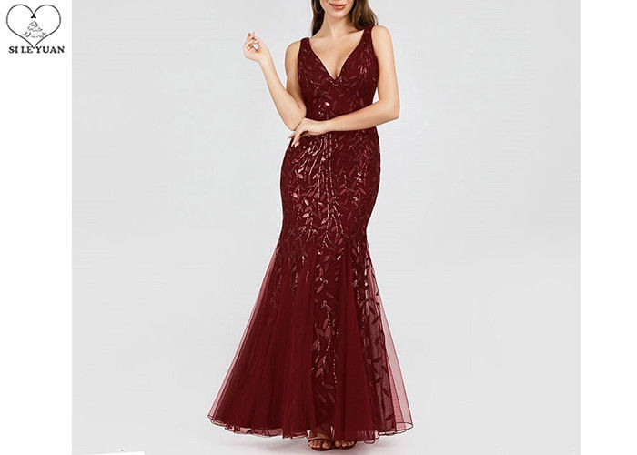 Embroidery Sequins Sparkly Burgundy Bridesmaid Dresses V Neck Tulle Fishtail
