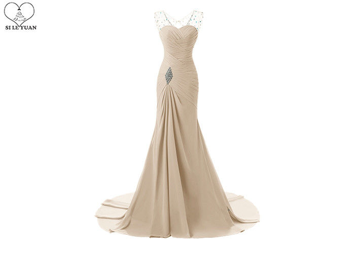 Sleeveless Plus Size Ball Gowns / Long Tail Chiffon Evening Gowns For Pleating