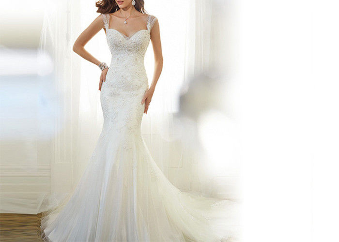 Sling Off White Mermaid Wedding Gown Sweet Heart Backless Sexy Lace Beading Long Tail Dress