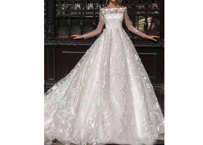 Flower Lace Long Tail Wedding Dress / Elegant Satin Wedding Gowns